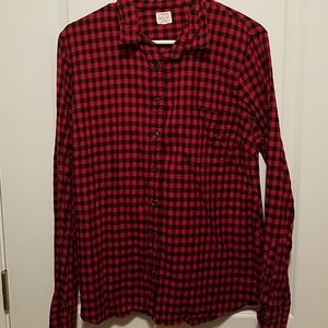 J.Crew red and black button down- large